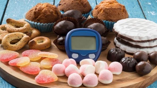 Ilustrasi makanan kaya gula