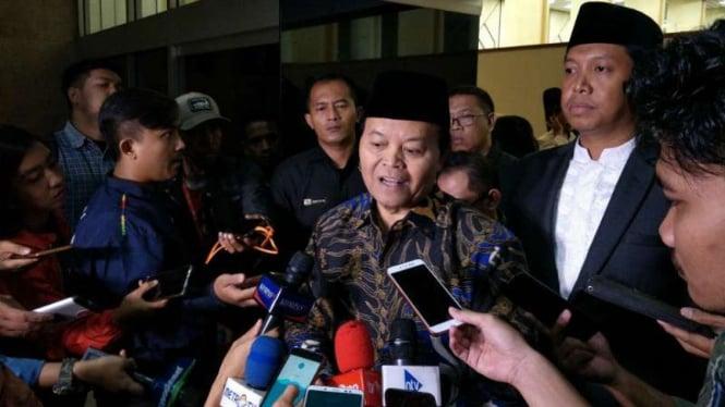 Wakil Ketua Majelis Syuro PKS Hidayat Nur Wahid di kompleks Parlemen, Jakarta, Kamis, 14 Februari 2019.