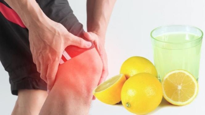 Ilustrasi penderita asam urat dan lemon.