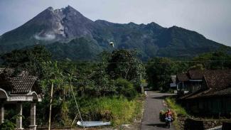 Warga mencari rumput di lereng Gunung Merapi di Balerante, Klaten, Jawa Tengah, Senin, 18 Februari 2019.