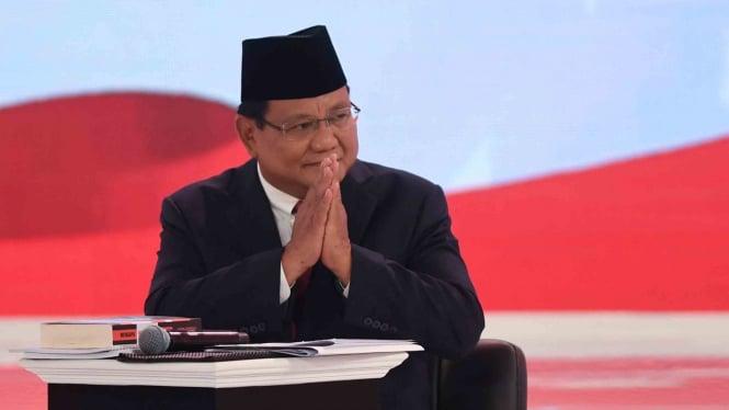 Capres nomor urut 02 Prabowo Subianto mengikuti debat capres 2019 putaran kedua di Hotel Sultan, Jakarta