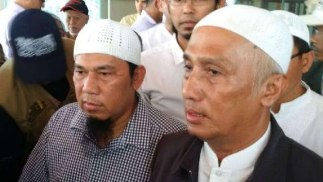 Achmad Michdan dan Slamet Maarif, di Markas Polda Jawa Tengah, Semarang, Senin, 18 Februari 2019.