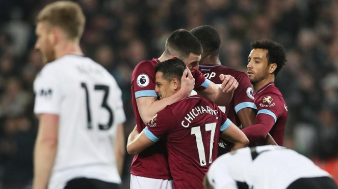 Pemain West Ham United bahagia menang atas Fulham