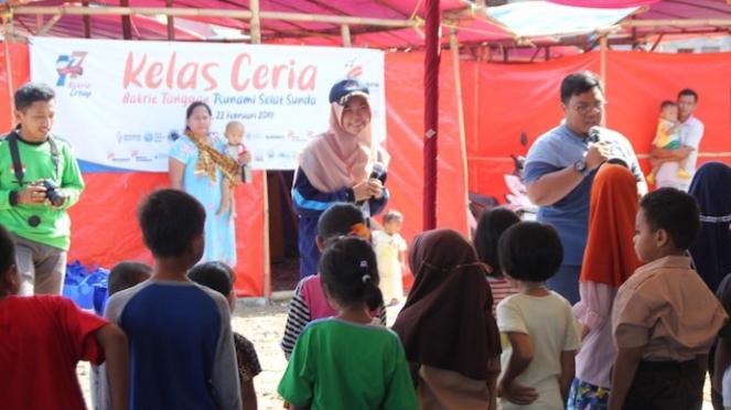 Kegiatan dalam kunjungan Penyintas Tsunami Selat Sunda oleh Bakrie Tanggap.