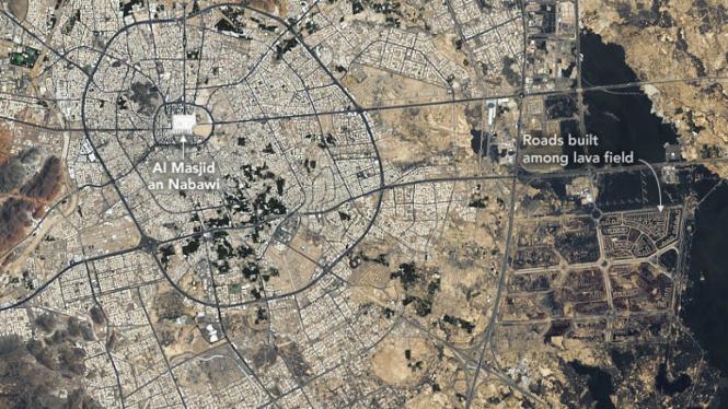 Kota Suci Madinah Dari Satelit Ternyata Berkembang Di Atas Lahar