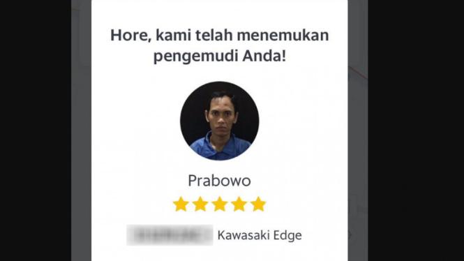 Pengemudi ojek online bernama Prabowo