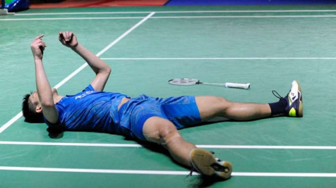 Chou Tien Chen rayakan kemenangan di German Open.