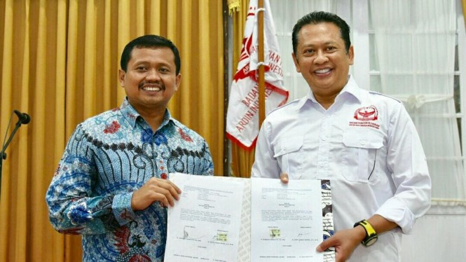 Ketua DPR RI Bambang Soesatyo di acara pelantikan pengurus ARDINDO Kabupaten Sumedang