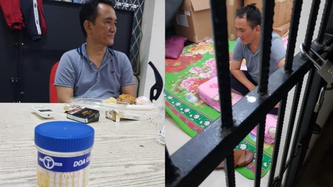 Andi Arief saat diamankan karena kasus narkoba