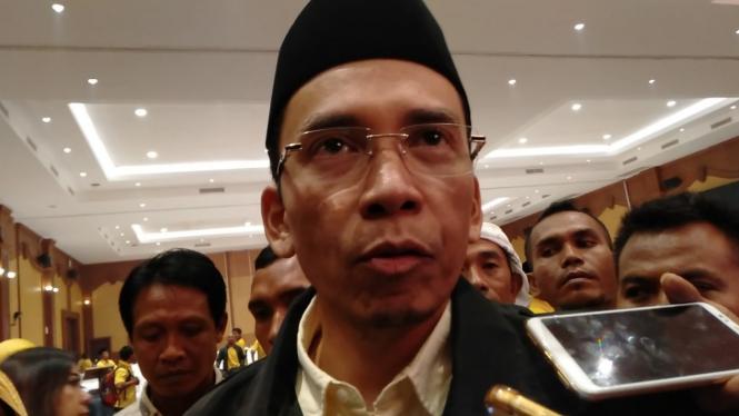 Muhammad Zainul Majdi atau Tuan Guru Bajang saat acara temu Kader Partai Golkar Nusa Tenggara Barat di Mataram, Nusa Tenggara Barat, Selasa, 19 Februari 2019.