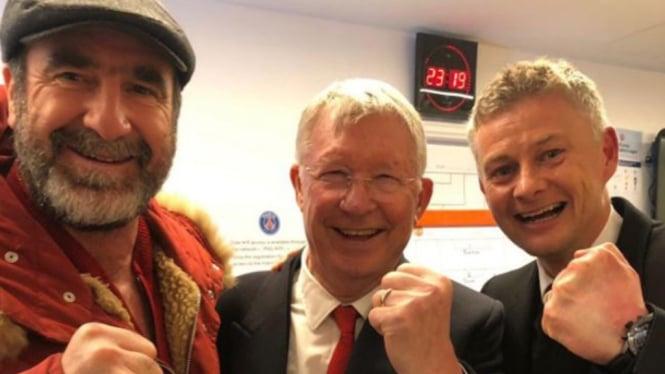Ole Gunner Solskjaer bersama Sir Alex Ferguson dan Eric Cantona