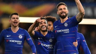 Para pemain Chelsea merayakan gol Pedro Rodriguez (kedua dari kanan)