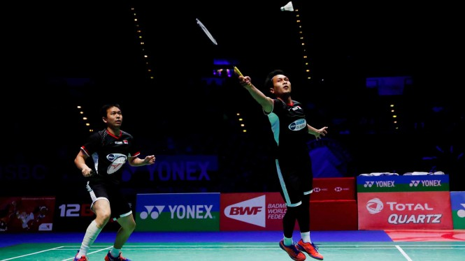 Ahsan/Hendra di final All England Open 2019.