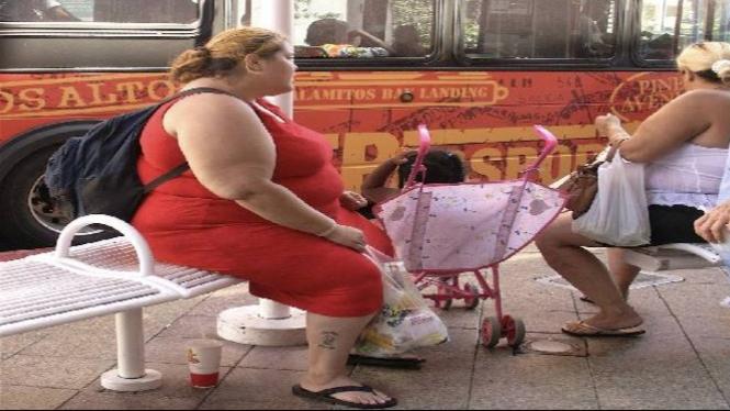 Ilustrasi wanita obesitas.
