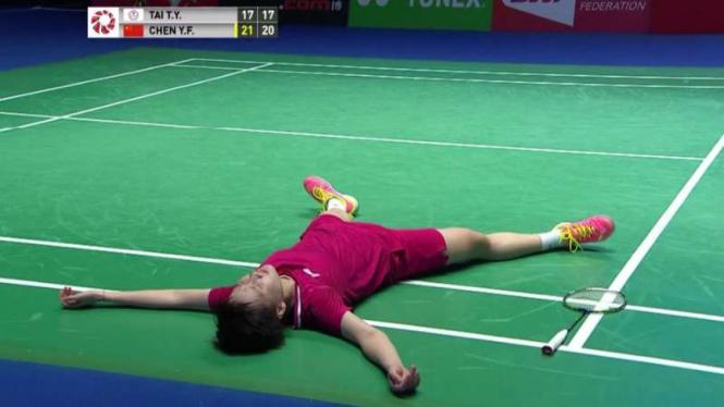 Chen Yufei histeris saat juarai All England Open 2019.