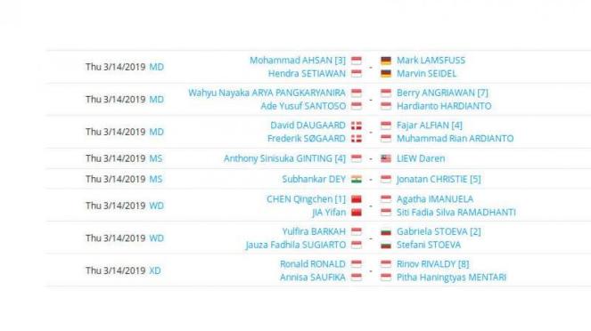 Jadwal pertandingan skuat RI di babak 16 besar Swiss Open 2019.