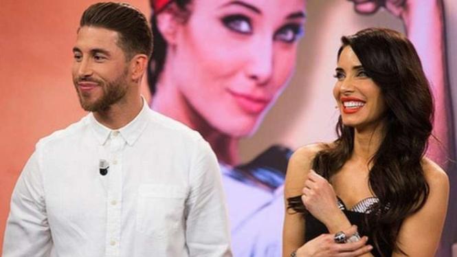 Sergio Ramos dan kekasihnya, Pilar Rubio.
