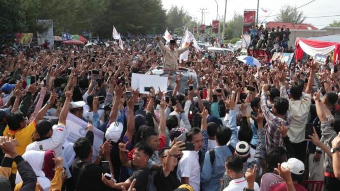 Capres Prabowo Subianto saat kampanye di Bengkulu