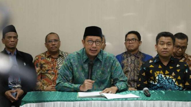 Menteri Agama Lukman Hakim Saefuddin memberi keterangan terkait OTT KPK.