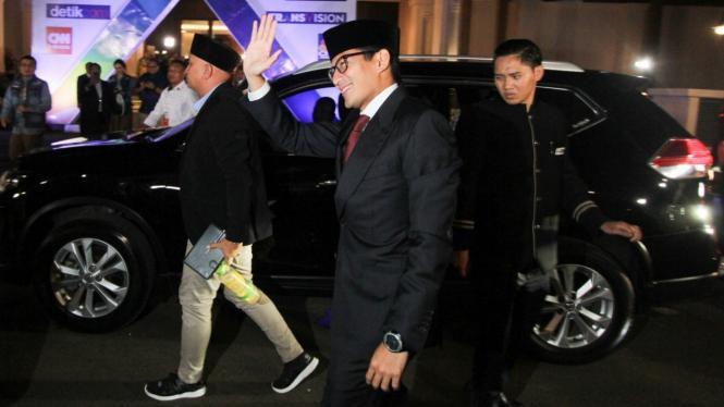 Calon Wakil Presiden nomor urut 02, Sandiaga Uno tiba untuk mengikuti Debat Pilp