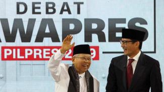 Sandiaga Uno dan Ma'ruf Amin usai melaksanakan debat calon wakil presiden 2019.