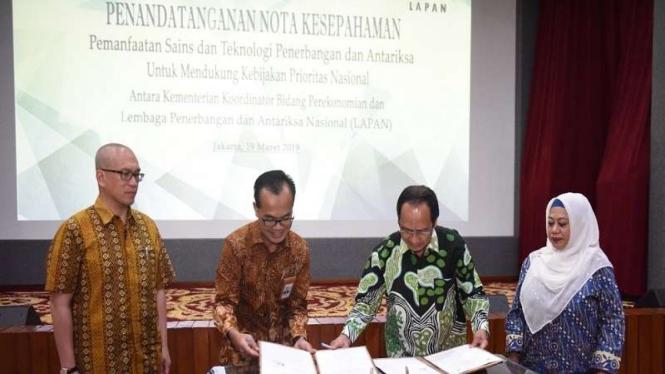 Penandatanganan kerjasama Kemenko Perekonomian dengan LAPAN