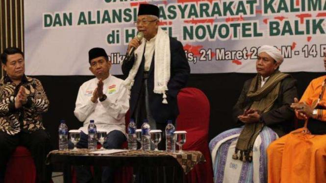 Cawapres Ma'ruf Amin dalam suatu acara di Kalimantan Timur, Kamis 21 Maret 2019.