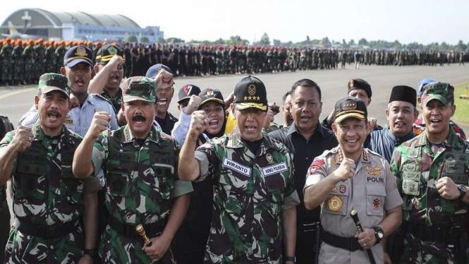 Apel Gelar Pasukan Pengamanan Pemilu di Lanud Halim Perdanakusuma, Jakarta