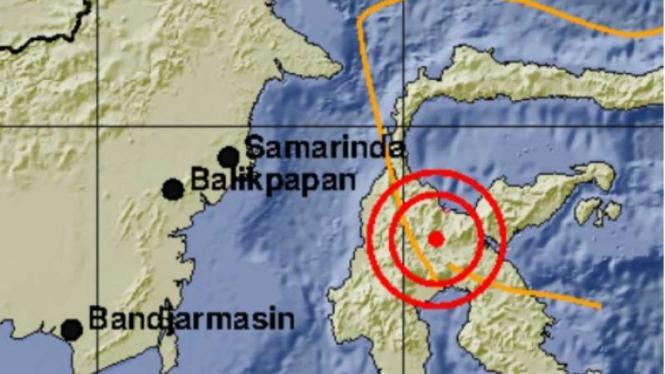 Lokasi gempa di Poso, Minggu 24 Maret 2019.