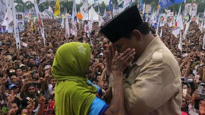 Prabowo Subianto saat kampanye di Mataram, NTB