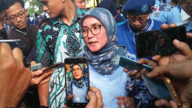 Iti Octavia Jayabaya, Ketua Partai Demokrat Banten, saat ditemui di Kota Serang, pada Sabtu, 30 Maret 2019.