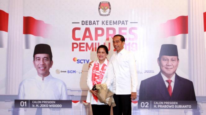 Kedatangan Peserta Debat Keempat Calon Presiden Pemilu 2019, Jokowi-Iriana