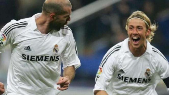 Zinedine Zidane dan Guti Hernandez, saat masih membela Real Madrid