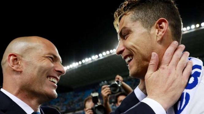 Zinedine Zidane dan Cristiano Ronaldo saat membawa Real Madrid juara Liga Champions