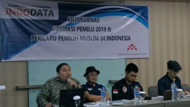 Lembaga Indodata, merilis survei terkait polarisasi millenial pemilih muslim.