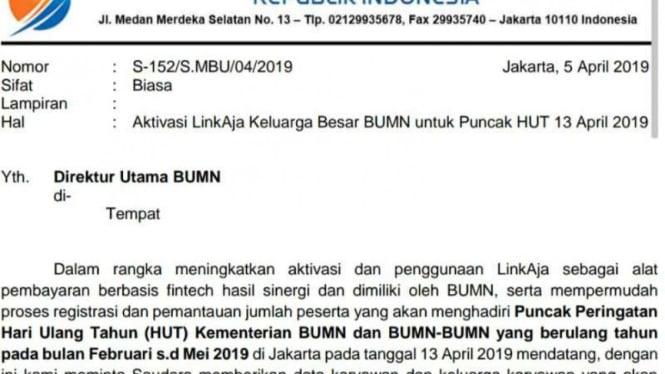 Surat undangan ultah BUMN 13 April 2019.