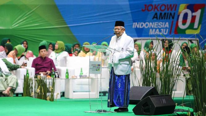 Wapres Maruf Amin berpidato pada Majelis Taklim Bersalawat di Istora Senayan, Jakarta, beberapa waktu lalu.