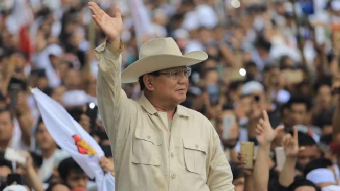 Prabowo Subianto saat berkampanye.