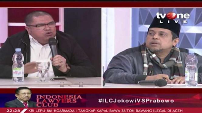 Perdebatan Razman Nasution dan Haikal Hassan di ILC tvOne.