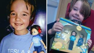 Hayden Geraghty dan boneka yang terinspirasi dirinya
