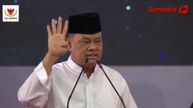 Mantan Panglima TNI Jenderal (Purn) Gatot Nurmantyo di acara Prabowo