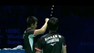 Mohammad Ahsan/Hendra Setiawan vs Takeshi/Keigo di final Singapore Open 2019.