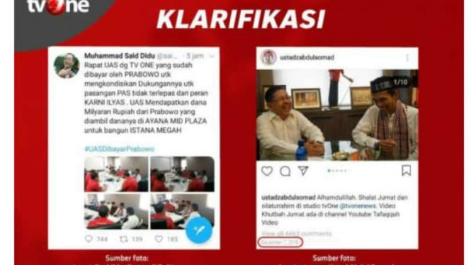 Klarifikasi tvOne atas fitnah akun @saididu yang dihack