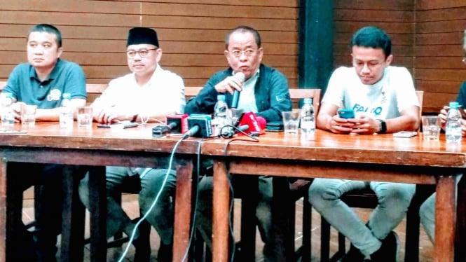 Said Didu didampingi tim Badan Pemenangan Nasional (BPN) gelar keterangan pers.