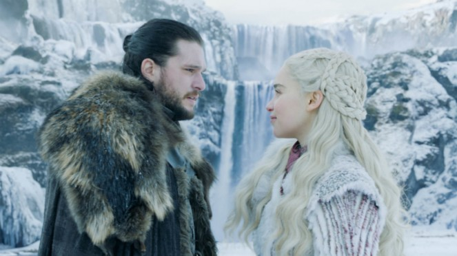 Jon Snow (Kit Harington) dan Daenerys Targaryen (Emilia Clarke) Game of Thrones.