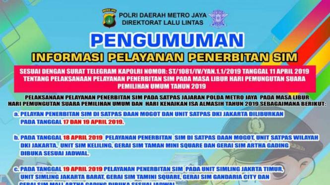 Pengumuman pelayanan SIM saat long weekend, Selasa, 16 April 2019.
