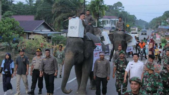 Gajah gendong kotak suara menuju TPS