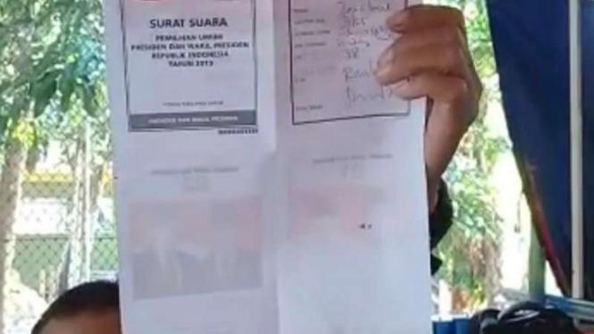 Surat suara Pilpres di Bekasi sudah tercoblos