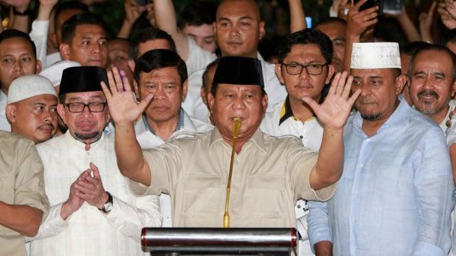Prabowo Subianto saat konferensi pers usai pencoblosan.
