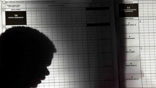 Ilustrasi Petugas KPPS melakukan penghitungan suara pada Pemilu serentak 2019